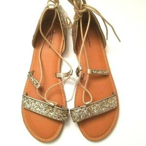 American Eagle Glitter Gold Lace Up Sandals Size 9